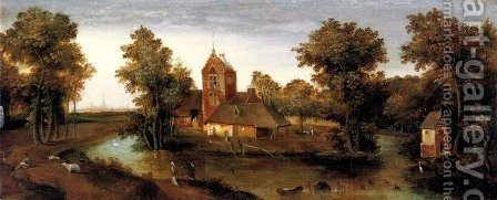 A moated tower with farmhouses by Abel Grimmer - Reproduction Oil Painting