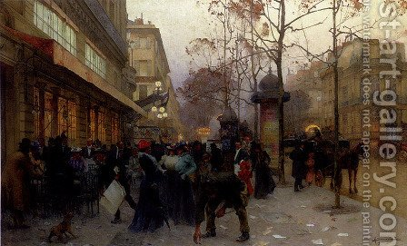 A Busting Street Scene by Henri-Gaston Darien - Reproduction Oil Painting