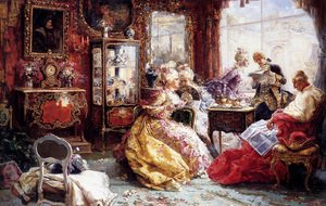Famous paintings of Furniture: An Afternoon In The Salon