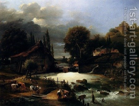 A Farm On A River by Guillaume Frederic Ronmy - Reproduction Oil Painting