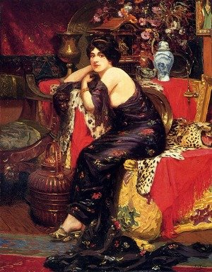Famous paintings of Furniture: A Harem Beauty Seated On A Leopard Skin