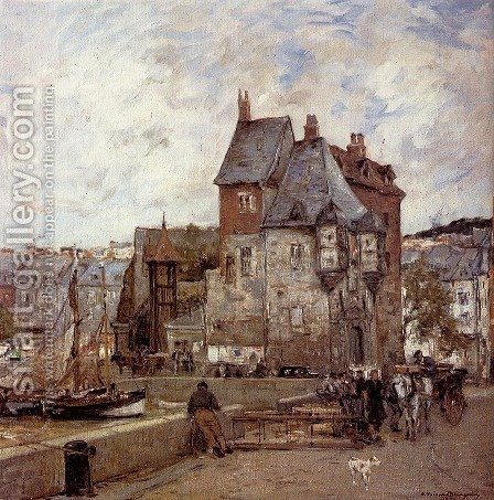 A French Harbour Town by Adrien Gabriel Voisard-Margerie - Reproduction Oil Painting