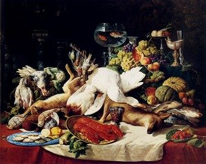 A Still Life With Fruit, Fish, Game And A Goldfish Bowl