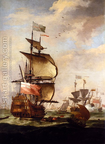 The English Fleet At Sea by Adriaen Van Diest - Reproduction Oil Painting