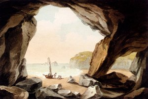 Famous paintings of Caves: A View From A Cave Near Tenby, South Wales
