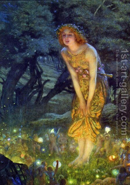 Midsummer Eve by Edward Robert Hughes R.W.S. - Reproduction Oil Painting