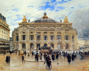 Famous paintings of Squares and Piazzas: Grand Opera House, Paris