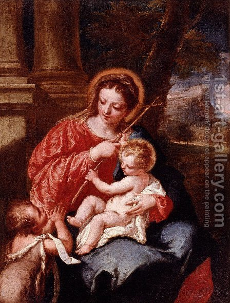 Madonna And Child With Saint John The Baptist by Giovanni Antonio Guardi - Reproduction Oil Painting