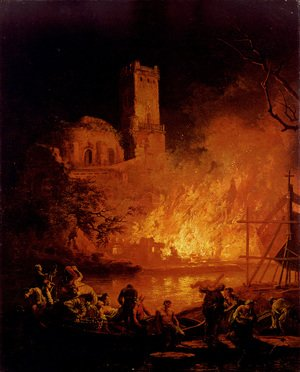 Reproduction oil paintings - Pierre-Jacques Volaire - A River Landscape With Figures Fleeing A Burning City