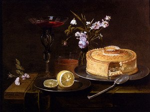 Famous paintings of Desserts: A Still Life Of A Pie And Sliced Lemon On Pewter Dishes, A Vase Of Flowers, A Glass Of Beer And A Wine Glass Upon A Partly Draped Table