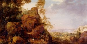 A Mountainous Lanscape With A Rocky Outcrop By The Edge Of A Wood, Goats And A Reindeer Resting By A Waterfall, A Village In An Extensive Landscape Beyond