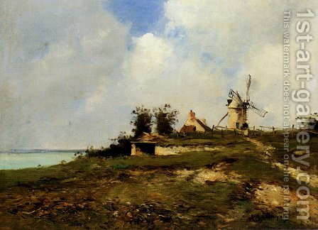 Jean Baptiste Antoine Guillemet: A Coastal Landscape With Windmill - reproduction oil painting