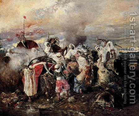 A Skirmish by Guido Sigriste - Reproduction Oil Painting