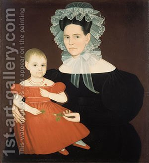 Mrs. Mayer and Daughter by Ammi Phillips - Reproduction Oil Painting