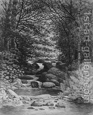 A Forest Cascade at Hiram, Maine by Henry Hitchings - Reproduction Oil Painting