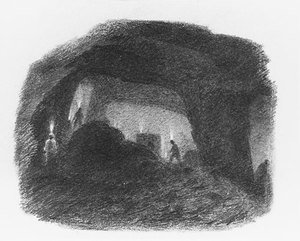 Famous paintings of Caves: In the Valley of Wyoming, Pennsylvania (Interior of a Coal Mine, Susquehanna)