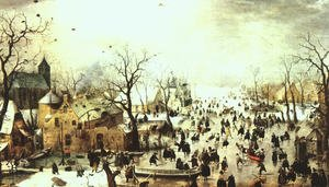 Famous paintings of Ice skating: A Scene on the Ice near a Town