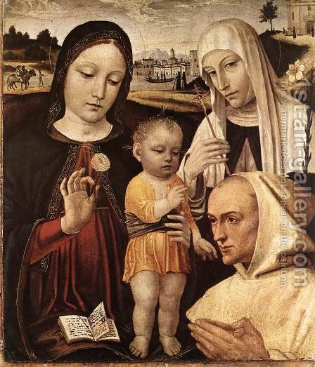 Madonna and Child, St Catherine and the Blessed Stefano Maconi by Ambrogio Borgognone - Reproduction Oil Painting
