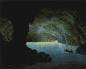 Famous paintings of Caves: The Blue Grotto, Capri 1851