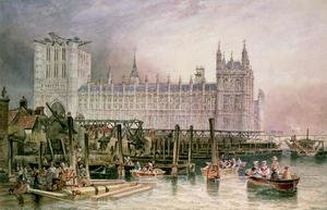 Famous Paintings in Victoria and Albert Museum, London, England: The Houses of Parliament in Course of Erection