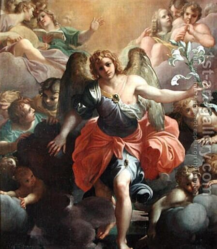 Angel Gabriel in Glory with Angel Musicians and Cherubs by Agostino Carracci - Reproduction Oil Painting