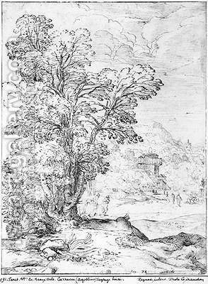 Wooded landscape by Agostino Carracci - Reproduction Oil Painting
