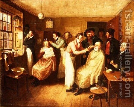 Barber's Shop by Alexander Carse - Reproduction Oil Painting