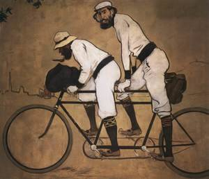 Famous paintings of Transportation: Self Portrait of Casas with Pere Romeu on a Tandem, 1897