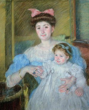 Reproduction oil paintings - Mary Cassatt - The Countess Morel d'Arleux and her Son, c.1906