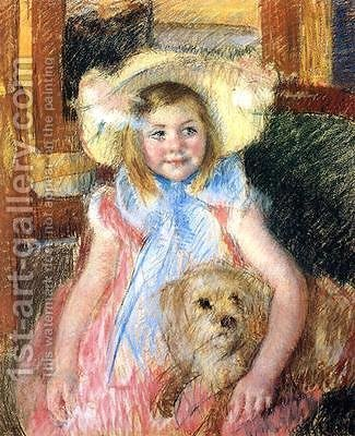 Sara and her Dog, c.1901 by Mary Cassatt - Reproduction Oil Painting