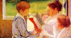 Neo-Classical painting reproductions: Mrs Cassatt Reading to her Grandchildren, 1888