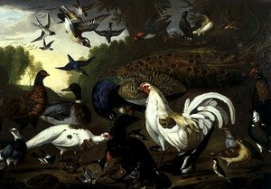 Naturalism painting reproductions: The Fable of the Raven with a Peacock, Cockerel, Woodpecker, Jay, Woodcock, and Magpie