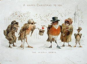 Famous paintings of Christmas: The Kindly Robin, Victorian Christmas card