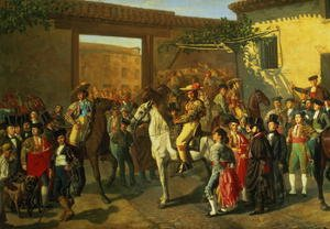 Famous paintings of Spain: Horses in a Courtyard by the Bullring before the Bullfight, Madrid, 1853