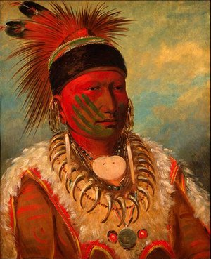 Famous paintings of Indians: 'White Cloud', Head Chief of the Iowas, 1844-45