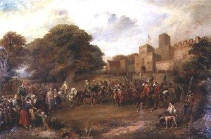 Famous paintings of Horses & Horse Riding: Visit of James I to Houghton Tower, 1617