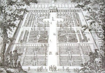 Garden design from 'The Gardens of Wilton', c.1645 by Isaac de Caus - Reproduction Oil Painting