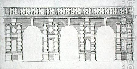 Design for an arcade with balustrade top from 'The Gardens of Wilton', c.1645 by Isaac de Caus - Reproduction Oil Painting