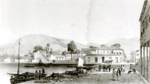 Jean-Michel Cazabon reproductions - Custom House and St. Vincent's Wharf, Trinidad, c. 1850