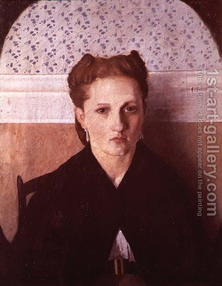 Portrait of the artist's wife by Adriano Cecioni - Reproduction Oil Painting