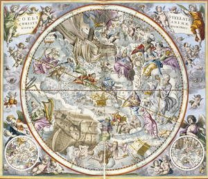 Reproduction oil paintings - Andreas Cellarius - Map of the Christian Constellations as Depicted by Julius Schiller, from 'The Celestial Atlas, or The Harmony of the Universe'