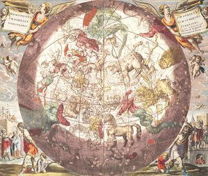 Andreas Cellarius reproductions - Northern (Boreal) Hemisphere, from 'Atlas Coelestis'