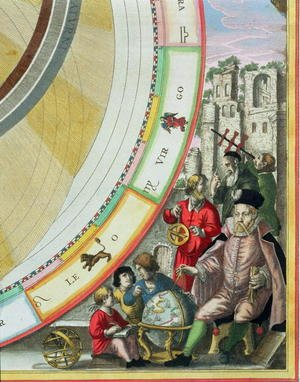 Reproduction oil paintings - Andreas Cellarius - Tycho Brahe (1546-1601), detail from a map showing his system of planetary orbits, from 'The Celestial Atlas, or The Harmony of the Universe'