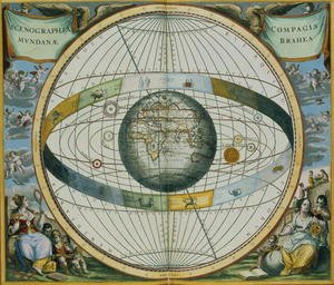 Reproduction oil paintings - Andreas Cellarius - Map Showing Tycho Brahe's System of Planetary Orbits Around the Earth, from 'The Celestial Atlas, or The Harmony of the Universe'