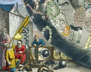 Reproduction oil paintings - Andreas Cellarius - Astronomers looking through a telescope, detail from a map of the constellations, from 'The Celestial Atlas, or The Harmony of the Universe'