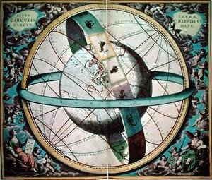 "Reproduction oil paintings - Andreas Cellarius - World map with encircling zodiac, 'Situs Terrae Circulis Coelestibus Circundate"", from 'The Celestial Atlas, or the Harmony of the Universe'"