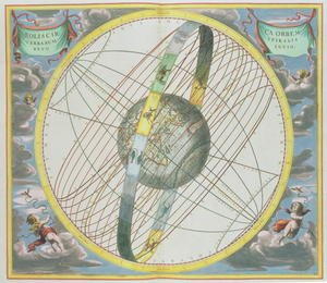 Reproduction oil paintings - Andreas Cellarius - Map Charting the Orbit of the Moon around the Earth, from 'A Celestial Atlas, or The Harmony of the Universe'