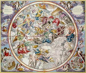 Reproduction oil paintings - Andreas Cellarius - Map of the Christian Constellations as depicted by Julius Schiller, from 'The Celestial Atlas, or The Harmony of the Universe' (2)