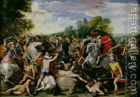 The Victory of Tullus Hostilius (672-640 BC) over the Forces of Veii and Fidenae by Giuseppe (d'Arpino) Cesari (Cavaliere) - Reproduction Oil Painting