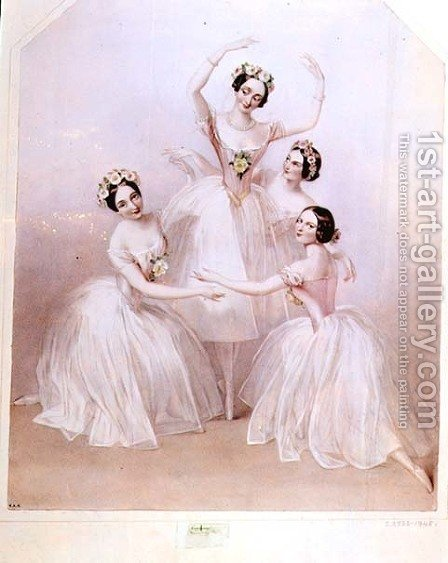 The 'Pas de Quatre': Carlotta Grisi (1819-99) Marie Taglioni (1804-84) Lucile Grahn (1819-1907) and Fanny Cerrito (1817-1909) by Alfred-Edward Chalon - Reproduction Oil Painting